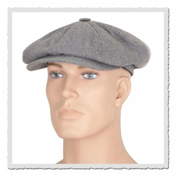 Ballon-Mütze im Stoff fischgrat grey