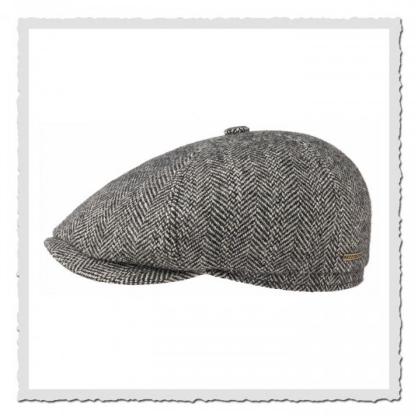 6-Panel Cap herringbone grey/black