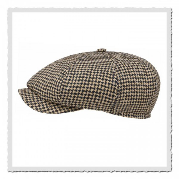 8-Panel-Cap Linen Houndstooth