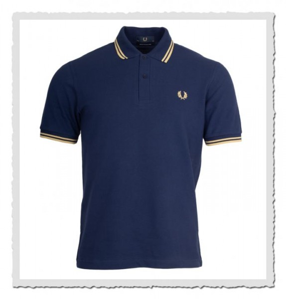 fred perry reissues polo shirt twin tipped french navy champagner