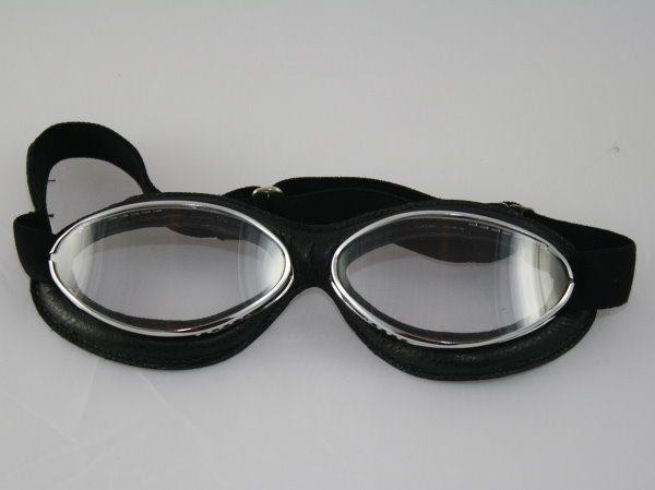 Aviator Goggle Retro Ledermaske schwarz