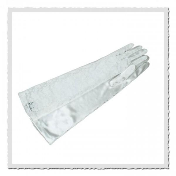 Damen-Handschuhe Spitze lang weiss