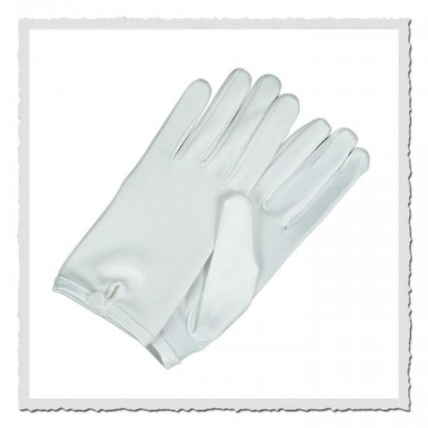 Damen-Handschuhe kurz satin weiss
