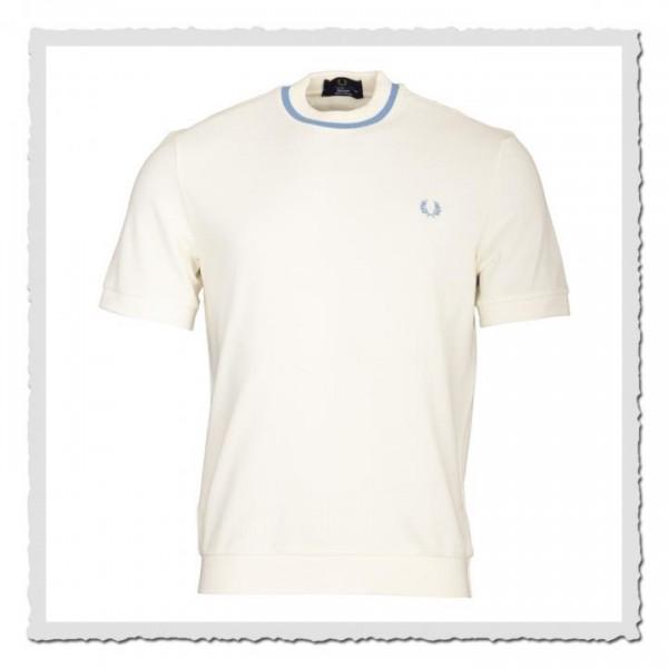 Crew Neck Pique Shirt ecru/sky
