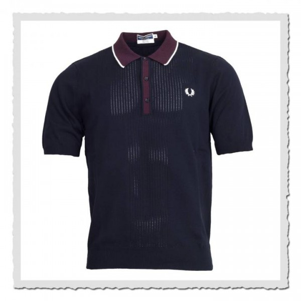 Polo Shirt Pointelle Fashioned navy