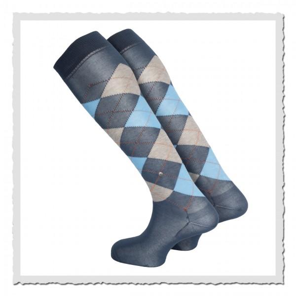 burlington kniestrumpf blau grau karo