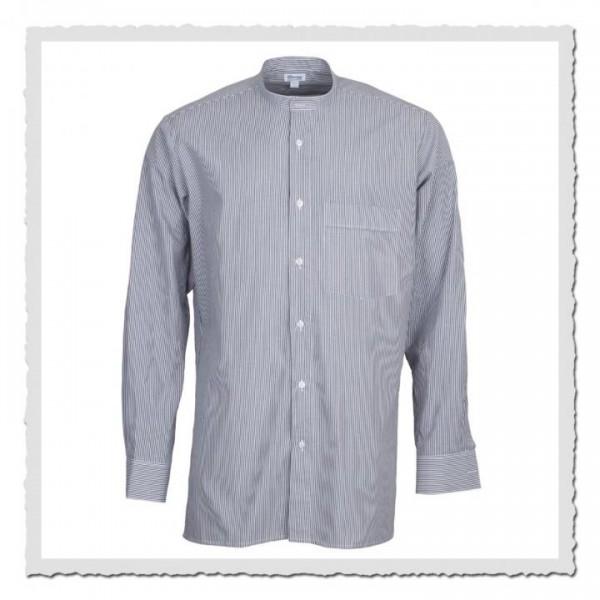 Oberhemd in weiss/grau für anknöpfbare Kragen