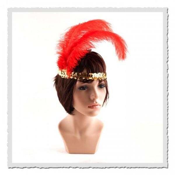 Flapper-Stirnband gold/rot