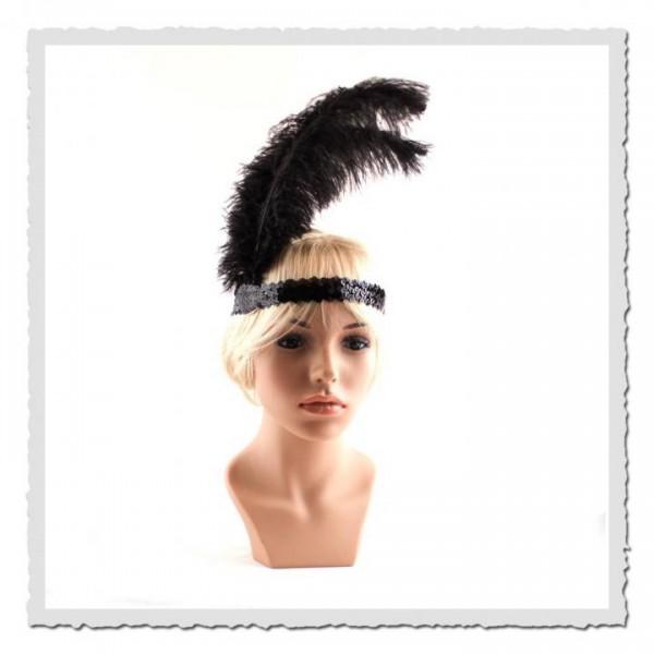 Flapper-Stirnband schwarz/schwarz