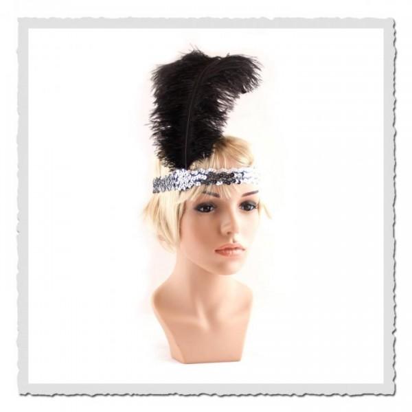 Flapper-Stirnband chrom/schwarz