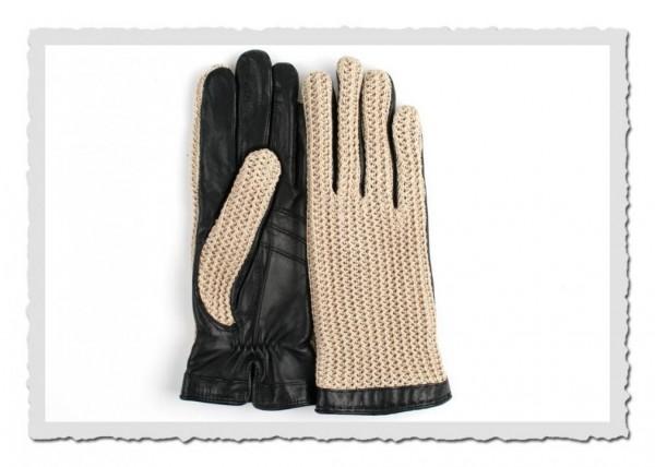 Damen-Handschuhe Kelly schwarz/beige