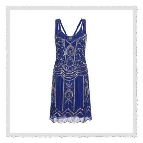 Flapper Dress Ziegfeld cobalt-blau