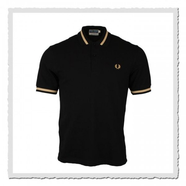 Polo Shirt Single Tipped Black/Champagne
