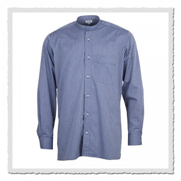 Oberhemd in blau/grau für anknöpfbare Kragen