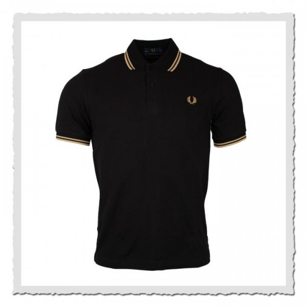 Polo Shirt Twin Tipped Black/Champagne