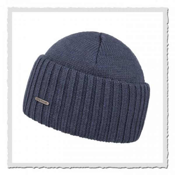 Beanie Merino Wool blau-grau