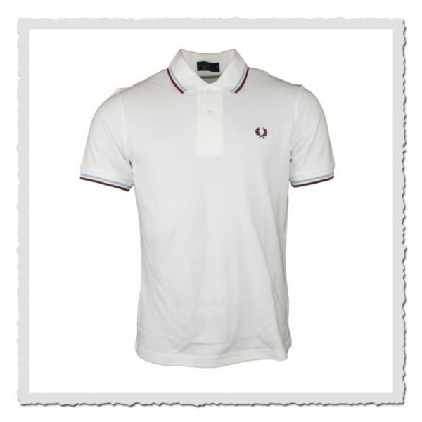 Polo Shirt Twin Tipped White/Ice/Maroon