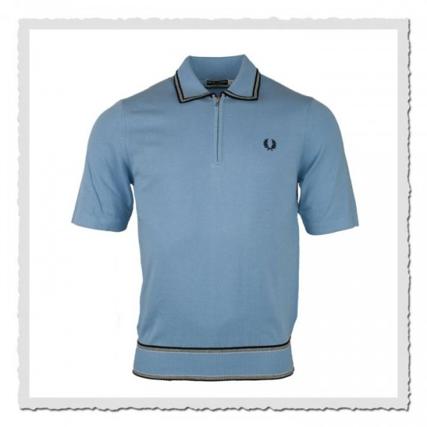 Polo Shirt Half Zip Knitted Sky