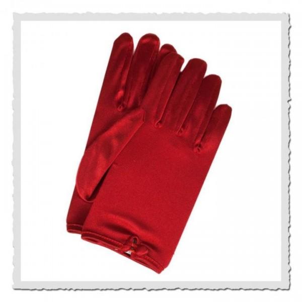 Damen-Handschuhe kurz satin rot