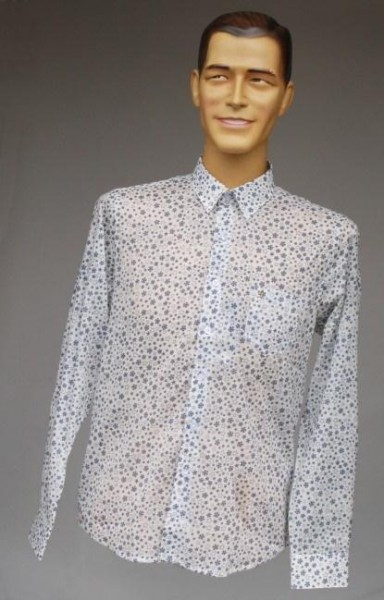 Herren-Hemd Vintage weiss blau gemustert