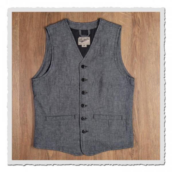 1905 Hauler Vest grey striped linen