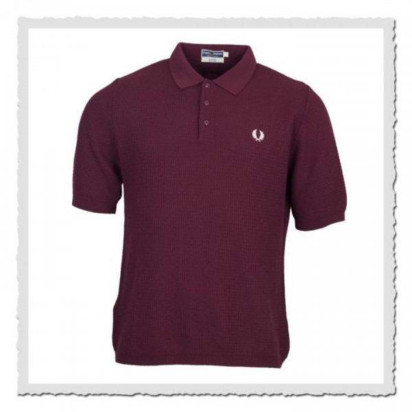 Polo Shirt Textured Knitted Aubergine