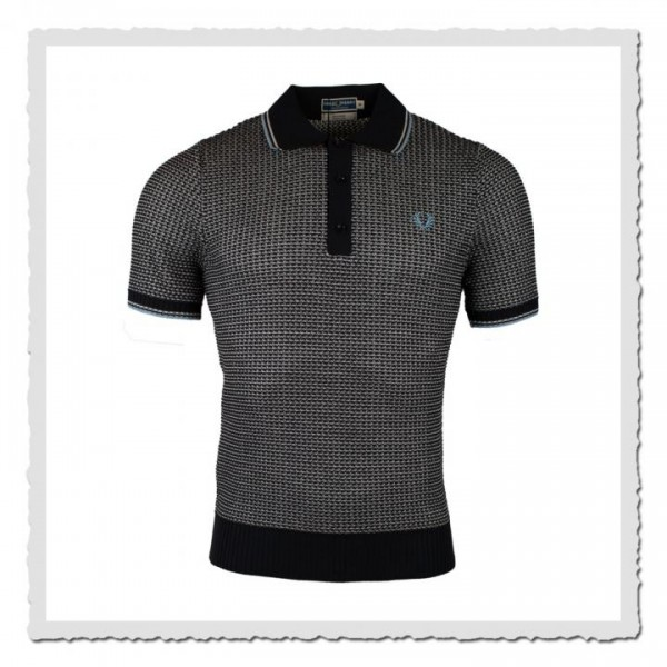 Polo Shirt Textured Knitted blue/white