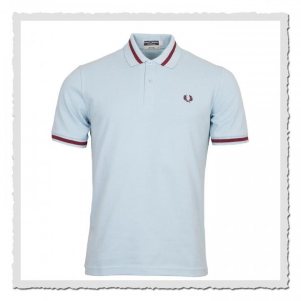 Polo Shirt Single Tipped ice/maroon